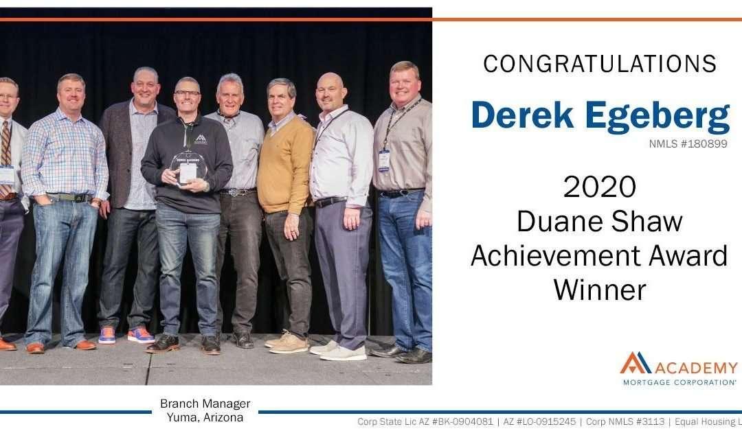 Derek Egeberg Awarded Duane Shaw Achievement Award